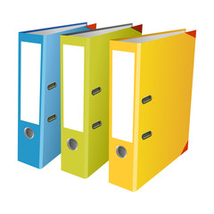 Colourful office folders on white background