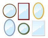 Set of mirrors. Vector illustration.