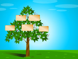 Family tree with placeholders for names/photos poster
