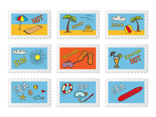 Post stamps with beach doodles. Vector illustration.