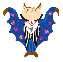 Image of the cheerful vampire in a suit and a dark blue raincoat