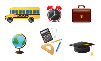 Preparation for school and university. Vector icon set
