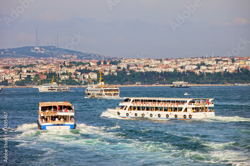 Passenger Boats on Bosphorus Strait