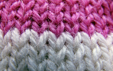 knitted lilac and white thread product