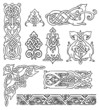 antique old Russian ornaments vector set
