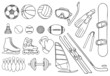 different sport items vector set