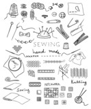hand made and needlework vector set poster