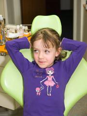 Little girl waiting for dental examination