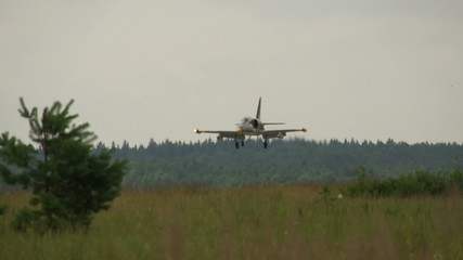 jet fighter landing on air base