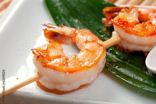 Japanese skewered  Jumbo Shrimp © Fanfo