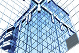 glass surface of contemporary angle of business building poster