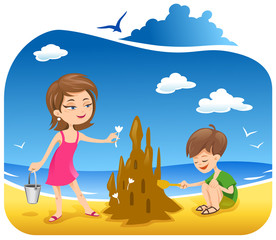 Boy and his mother at the Beach building sand castle