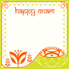 Decorated greeting card for indian Onam holiday