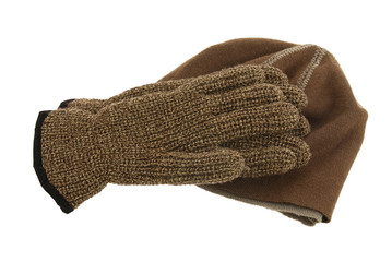 Brown woolen cap and pair of gloves