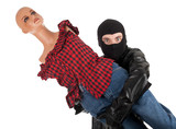thief in black balaclava with manequin