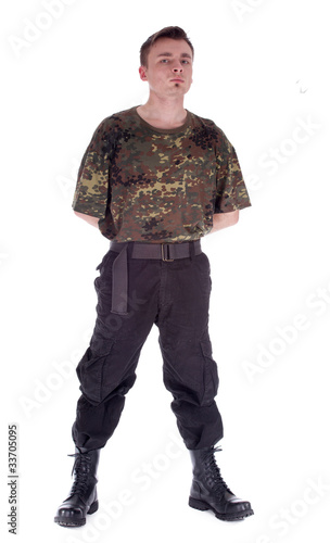 army man in camouflage shirt