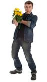 smoking drunk young man holding yellow roses
