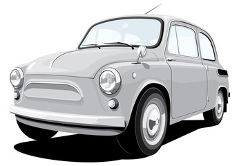 Vector isolated retro small car, without gradients