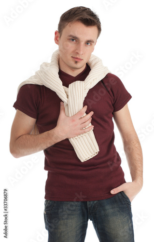 young man in casual shirt and sweater on shoulders