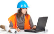female architect or engineer, laptop and blueprint, series