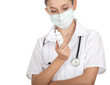 lady doctor in protective mask holding thermometer