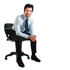 Successful businessman sitting in the chiar