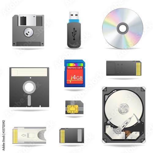 Digital data devices icon set - 33712042