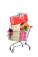 A shopping cart full with gifts