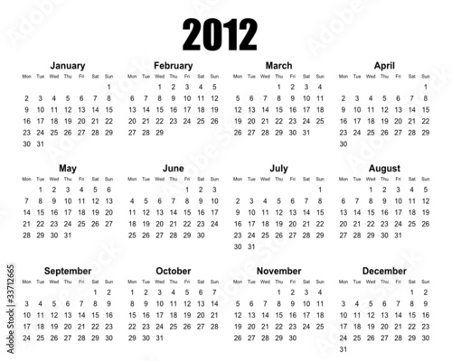 simple editable vector calendar 2012