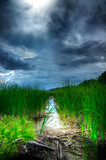 Stormy Sky Over Illuminated Wetlands poster