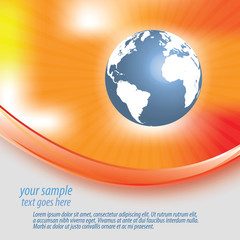 Abstract orange red yellow background with globe