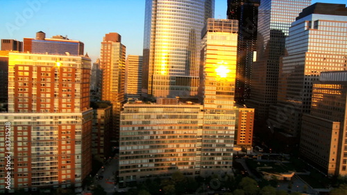 Aerial view of Manhattan at Sunset, NY, USA