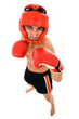 Top view of young Boxer fighter with boxing helmet and gloves ov