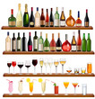 Big set of different drinks. Vector illustration.