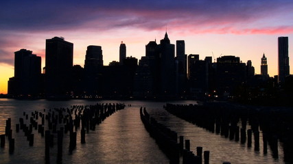 Time Lapse Sunset view of Manhattan, NY, USA