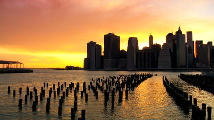 Sunset over the Hudson River Manhattan, NY, USA