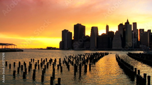 Sunset over the Hudson River Manhattan, NY, USA