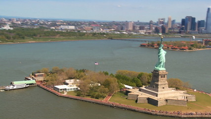 Aerial view of the Statue of Liberty, New York State, USA