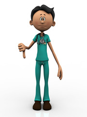 Cartoon doctor doing a thumbs down.