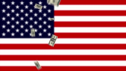 flying bollasr make $ with outfocused USA flag