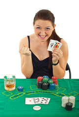 Ecstatic woman won at black jack
