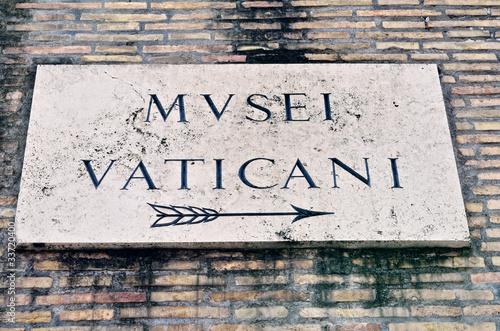 Foto op Plexiglas Wand Signboard of Vatican Museum