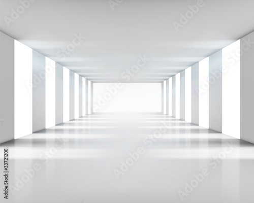 Leerer weißer Innenraum. Vektor-Illustration.