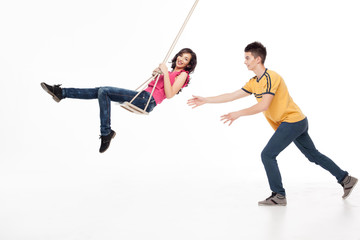 young couple playing