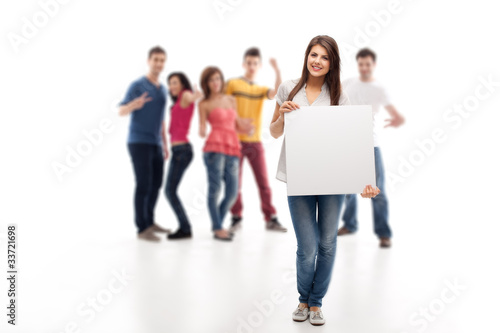 woman holding blank ad banner