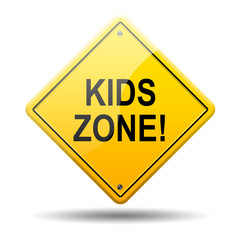Señal amarilla texto KIDS ZONE!