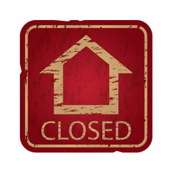 Old damaged real estate sign,closed house