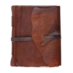Leather diary book on white background.