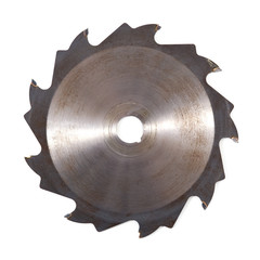 Rusty circular saw blade isolated on white background.