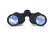 Black binoculars with sky lens. Freedom concept.